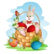 Cute bunny in basket with Easter eggs