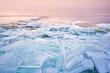 broken shelf ice pieces at sunset on North sea