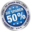 """Button """"Sie sparen 50%"""" blau/silber"""