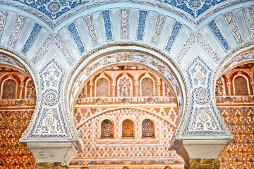 Decorations in the Royal Alcazars of Seville, Spain.