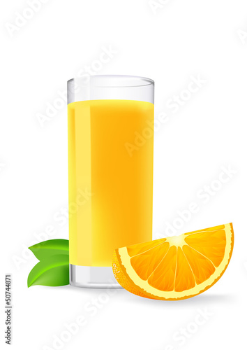 glass of orange juice and a slice of orange