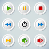 White plastic vector navigation buttons