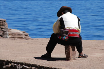 Inca sur l'île Taquile, lac Titicaca