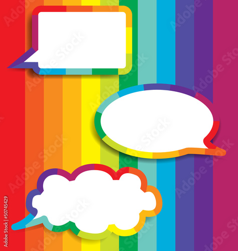 Colorful Background With Speech Bubble.