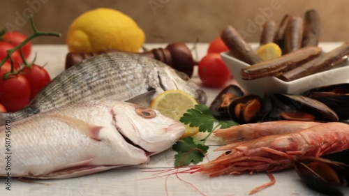 fish, mollusk and crustacean selection