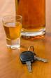 Schnapsglas mit Autoschlüssel