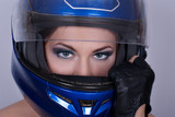 Girl in biker helmet