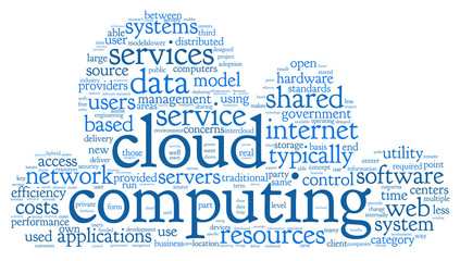 Cloud computing in word tag cloud