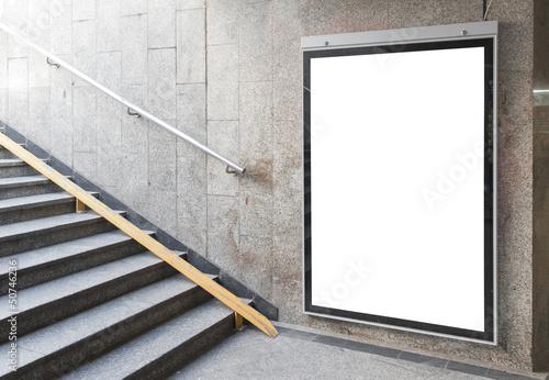 Leinwanddruck Bild Blank billboard or poster in hall