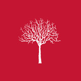 Icon white tree on red, vector illustration.