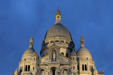 Nightfall in the sacre coeur, Montmartre, Paris, Ile de France,