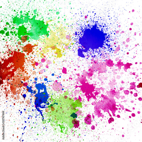 Abstract colorful splash watercolor art hand paint on white