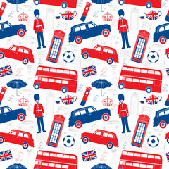 London symbols  -  Icons - Seamless vector patten - Silhouette