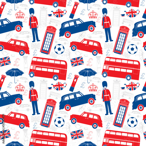 London symbols  -  Icons - Seamless vector patten - Silhouette - 50747609
