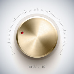 Volume button (music knob) with gold texture, for ui.
