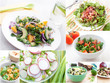 Spring and summer salads collage