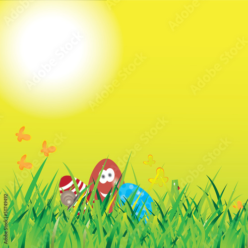 Beautiful easter backdrop, with eggs and butterflies