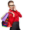 Shopping woman holding bags, isolated on white studio background