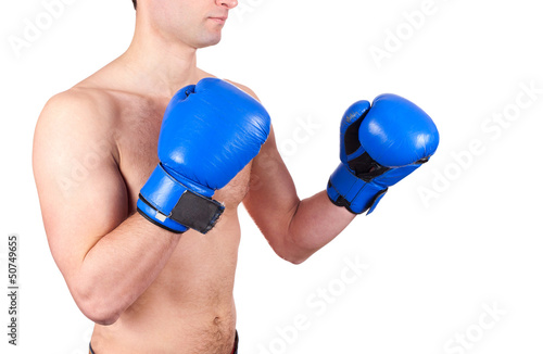 Young boxer  fighter with blue gloves isolated on  white backgro