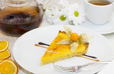 Лимонный пирог с корицей к чаю