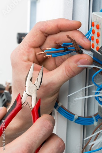 Hands of an electrician