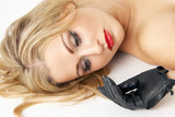 make-up shot featuring black leather glove