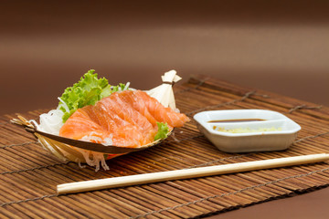 Sliced raw salmon sashimi