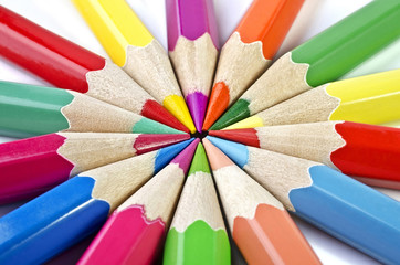 Colorful pencils isolated on a white background