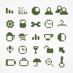 Pixel web icons collection. set 1
