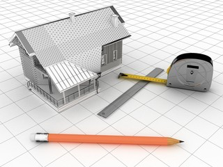 3-d model of a house, a ruler, a tape measure, a pencil