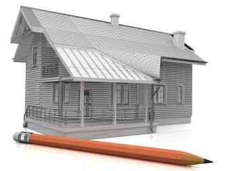 a stylized model of a house and a pencil,