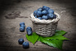blueberries in a little basket in the detail