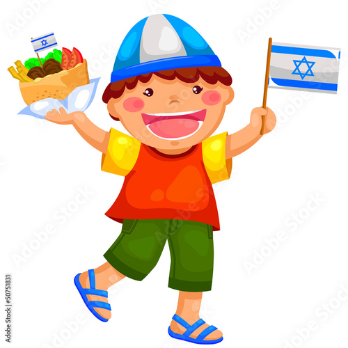 kid holding the Israeli flag and eating falafel