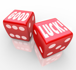Good Luck Red Dice Words Favorable Fortune