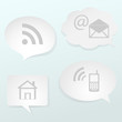 Media icons in abstract speech bubbles