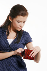 Young woman holding his empty wallet