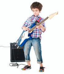 Little boy britpop style with electoguitar and guitar combo full