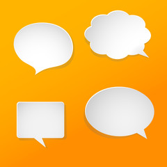 Illustration of white paper speech bubbles on orange background.