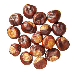 Chestnuts on a white