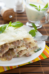Meat lasagna with parmesan