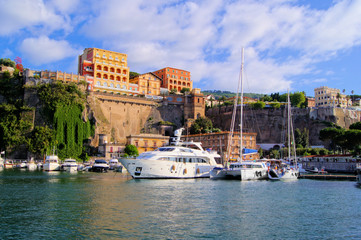 View of the cliffs of Sorrento, Italy from the harbor