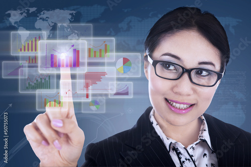 Businesswoman futuristic touchscreen