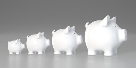 Piggy bank - increasing size (profile)