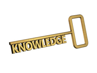 golden key with word knowledge on a white background