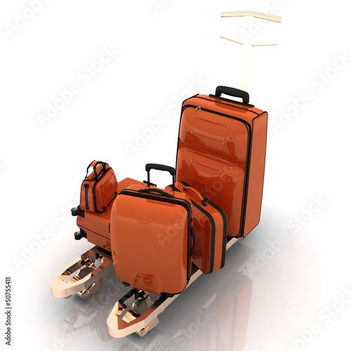 dolly and suitcases in 3-d visualization