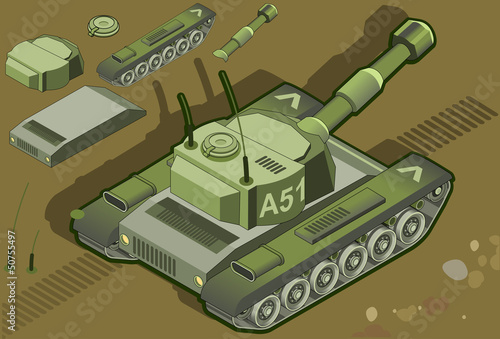 Tuinposter Militair isometric tank in rear view