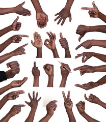Hand gestures collection isolated on white