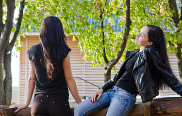 Two women chatting outdoors