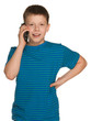 Cheerful boy with a cell phone