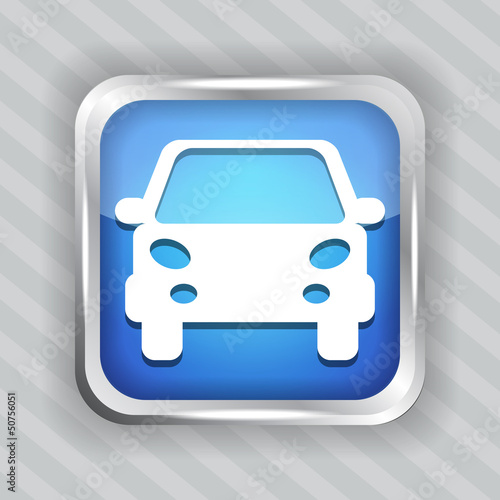 blue car button icon on the striped background